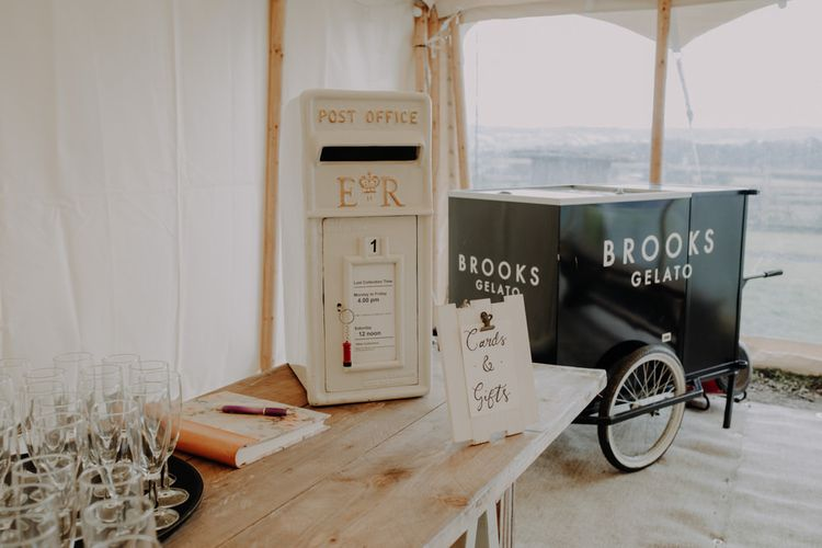 White post box for cards and gifts at Hobbits Hill for marquee reception