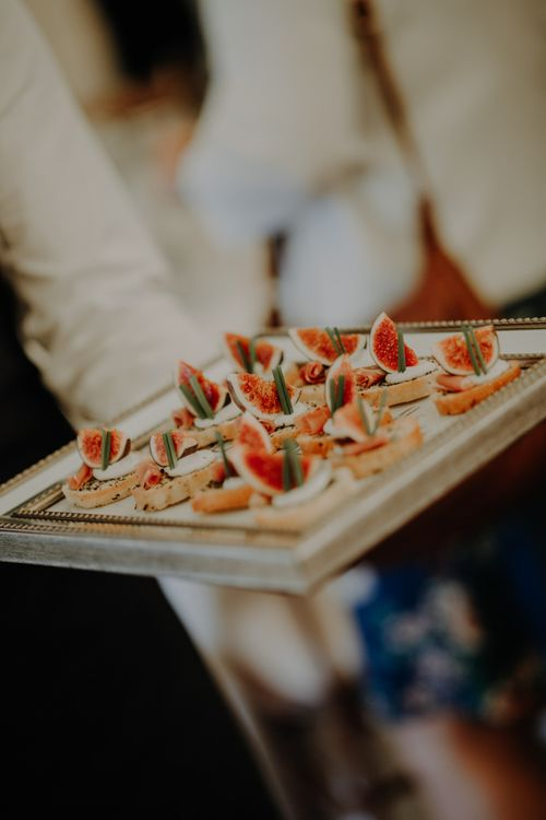 Canapé at Hobbit Hill for summer marquee wedding reception