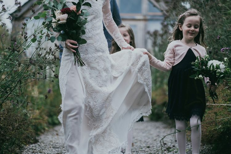 Bespoke Lace Wedding Dress with High Neck and Lace Long Sleeves