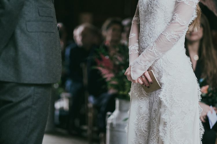 Wedding Ceremony with Bride in Delicate Lace Wedding Dress