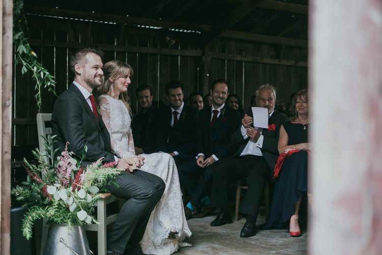 Bride and Groom During the Readings at the Wedding Ceremony