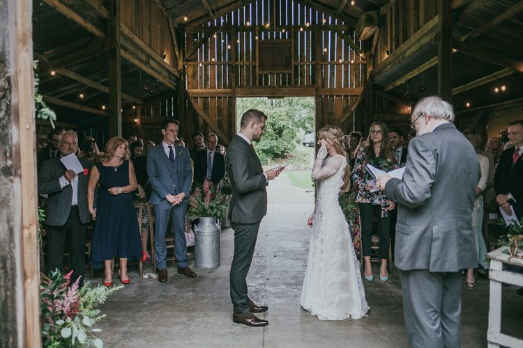Bride and Groom Sharing their Wedding Vows During the Wedding Ceremony