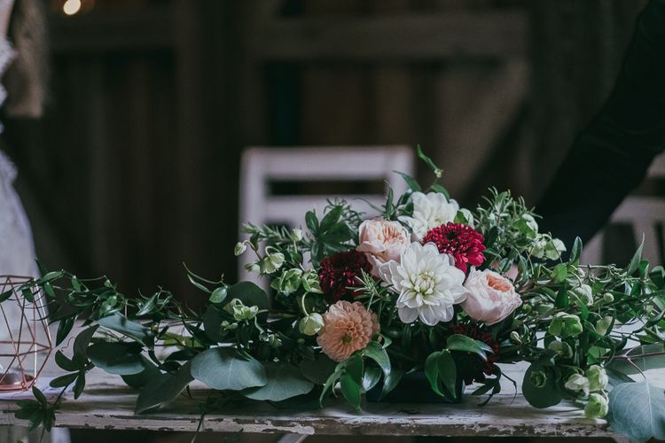 Pink, White and Red Dahlia Wedding Floral Arrangement