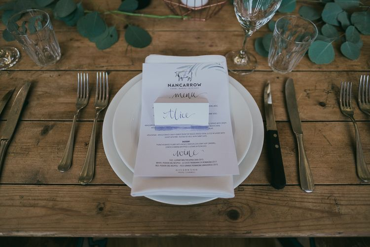 Elegant Place Setting with Menu & Place Setting Cards