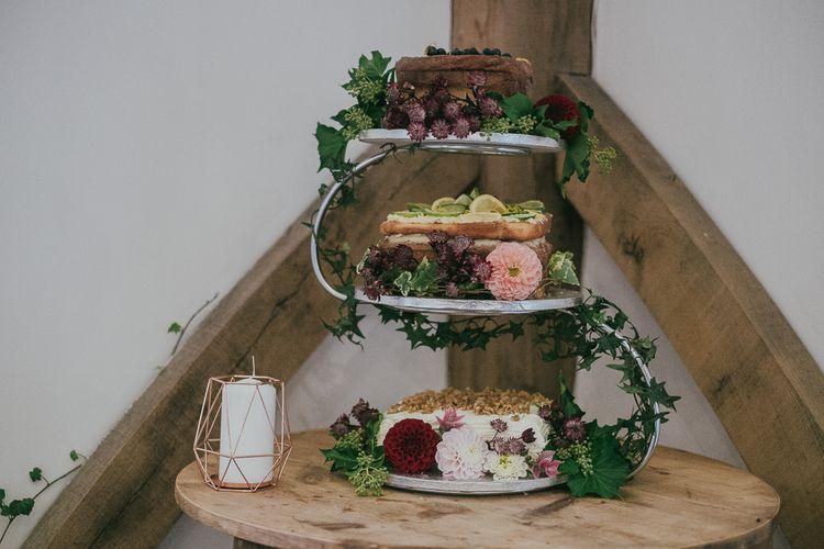 Three Homemade Wedding Cakes with Flower Decor