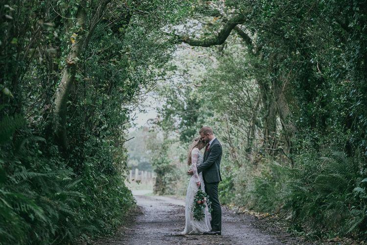 Bride and Groom Countryside Wedding Portrait