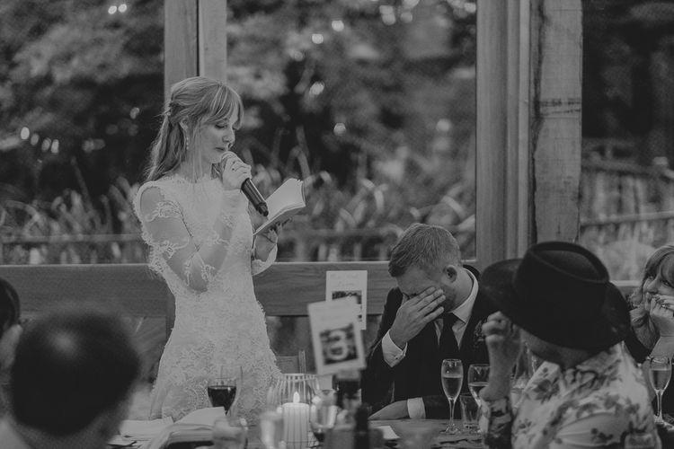 Bride Giving a Speech at The Wedding Reception