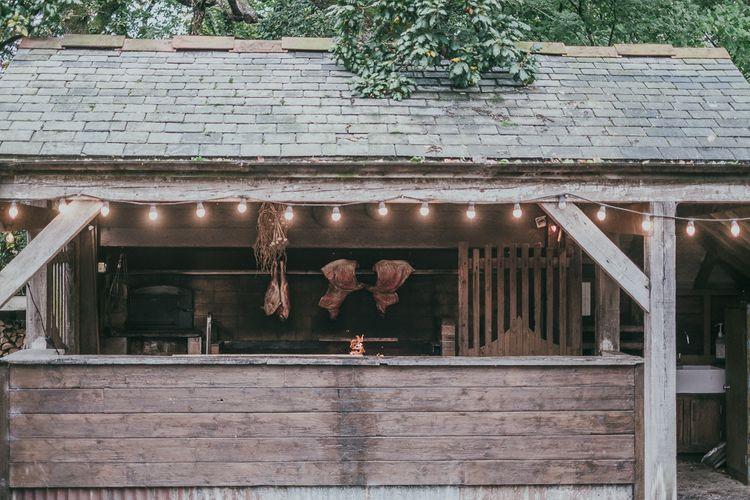 Outdoor Grill with Festoon Light Decor