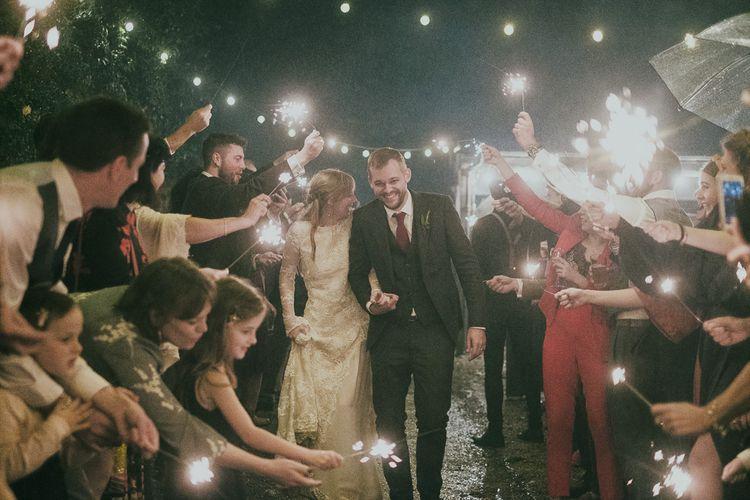 Bride and Groom Sparkler Moment