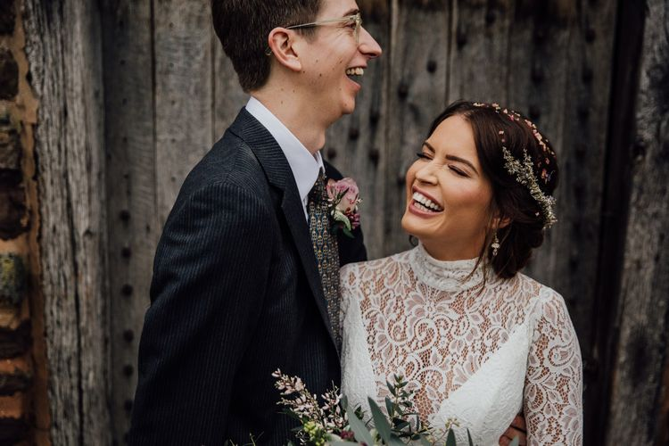 Bride and groom at their January wedding