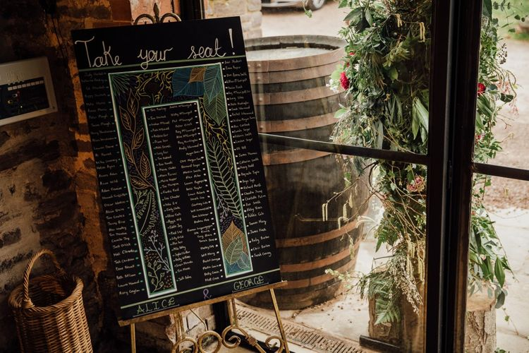 Table plan designed by bride