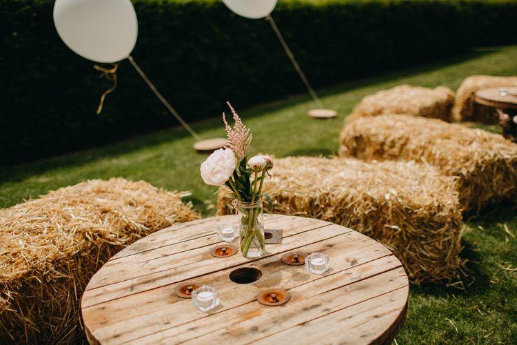 Peonies & Dried Flowers in a Jar Wedding Decor | DIY Rustic Tipi Wedding at Riverhill Gardens, Sevenoaks | Frances Sales Photography