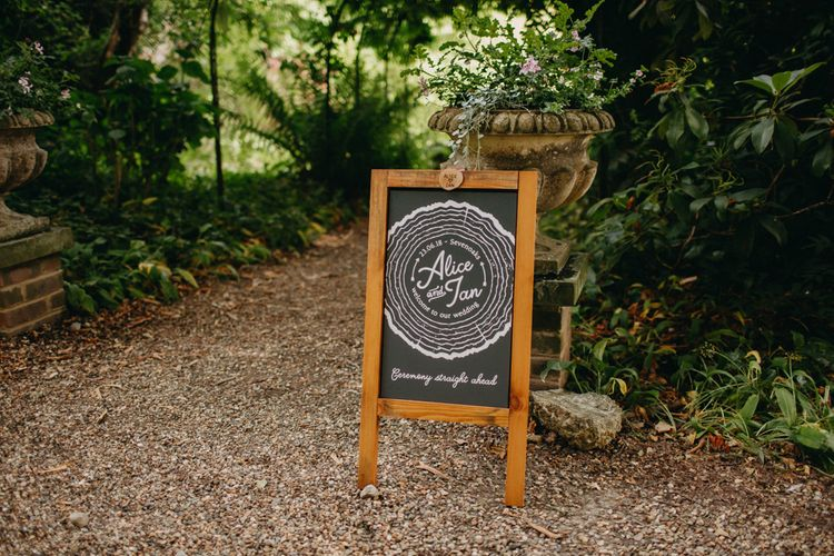 Chalkboard Wedding Sign | DIY Rustic Tipi Wedding at Riverhill Gardens, Sevenoaks | Frances Sales Photography