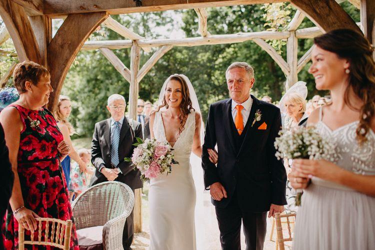 Wedding Ceremony Bridal Entrance in Halo & Wren Wedding Dress | DIY Rustic Tipi Wedding at Riverhill Gardens, Sevenoaks | Frances Sales Photography