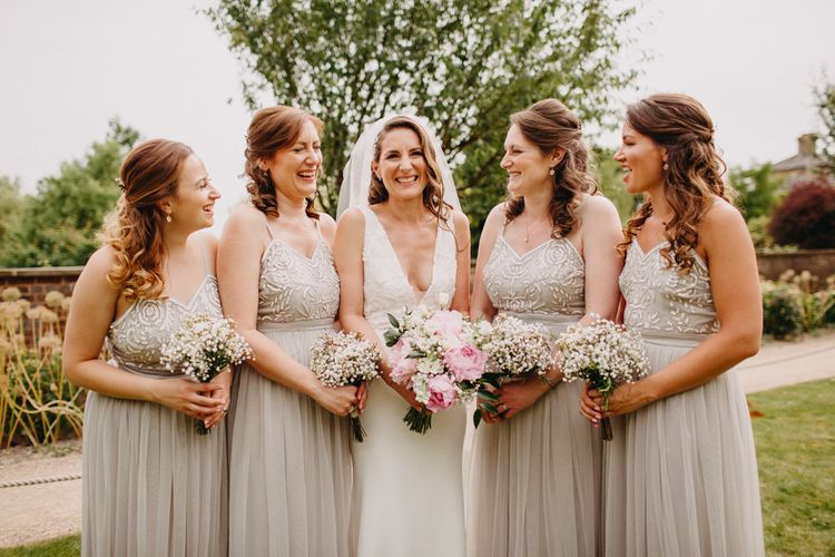 Bridal Party | Bridesmaids in Taupe Dresses with Tulle & Embellished Bodices | Bride in Halo & Wren Wedding Dress | DIY Rustic Tipi Wedding at Riverhill Gardens, Sevenoaks | Frances Sales Photography