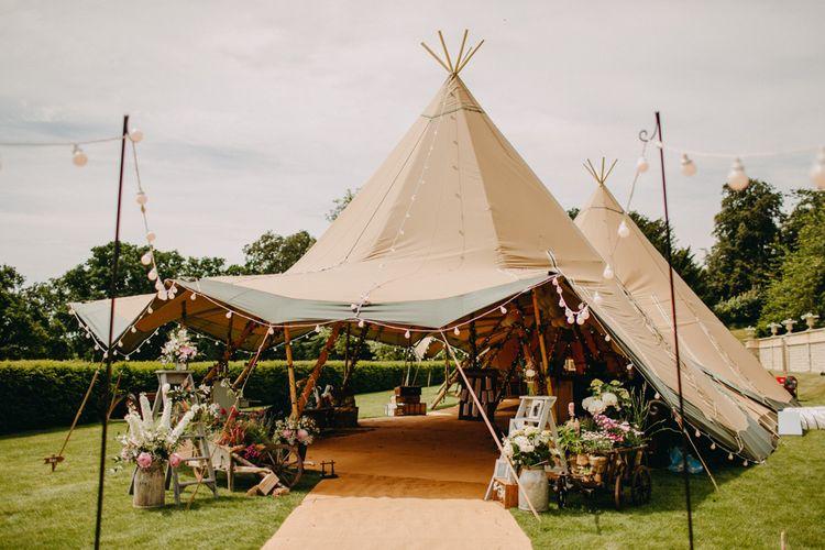 Festoon Lights | Milk Churns, Vintage Step Ladders | Wedding Decor | DIY Rustic Tipi Wedding at Riverhill Gardens, Sevenoaks | Frances Sales Photography