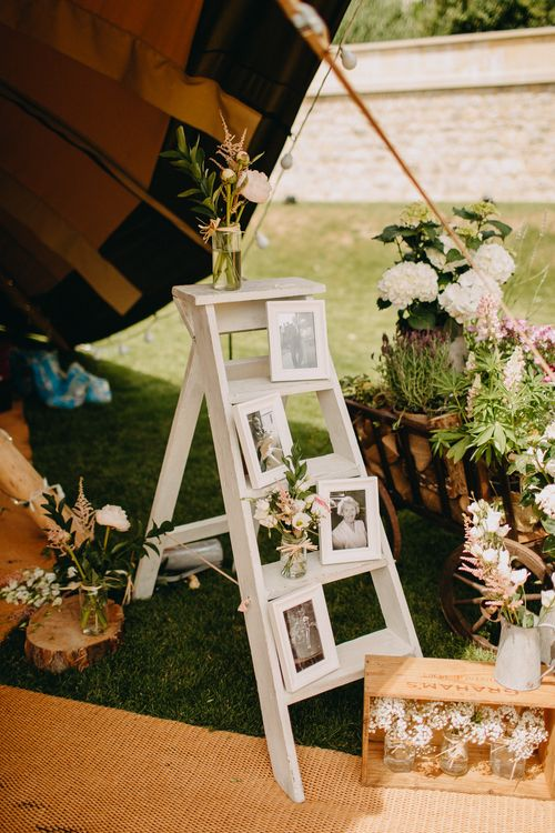 Family Portrait Step Ladder Wedding Decor | DIY Rustic Tipi Wedding at Riverhill Gardens, Sevenoaks | Frances Sales Photography