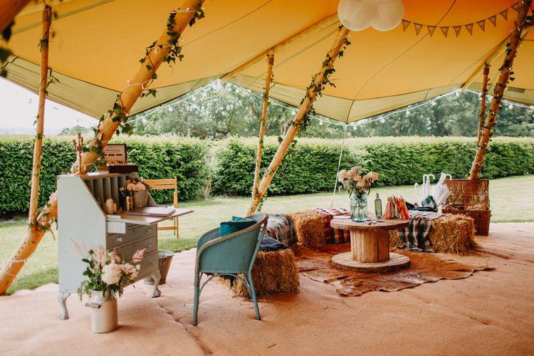Vintage Dresser Guest Book Table | Hay Bale Seating Area | Wedding Decor | DIY Rustic Tipi Wedding at Riverhill Gardens, Sevenoaks | Frances Sales Photography