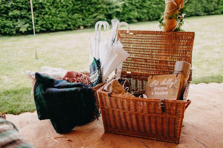 Wicker Basket Blanket Box | Wedding Decor | DIY Rustic Tipi Wedding at Riverhill Gardens, Sevenoaks | Frances Sales Photography