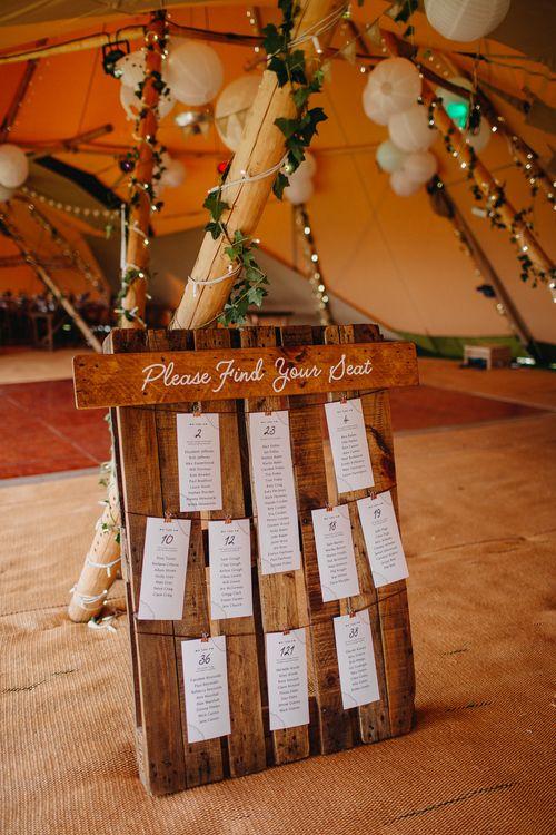 Wooden Palette Table Plan | Wedding Decor | DIY Rustic Tipi Wedding at Riverhill Gardens, Sevenoaks | Frances Sales Photography