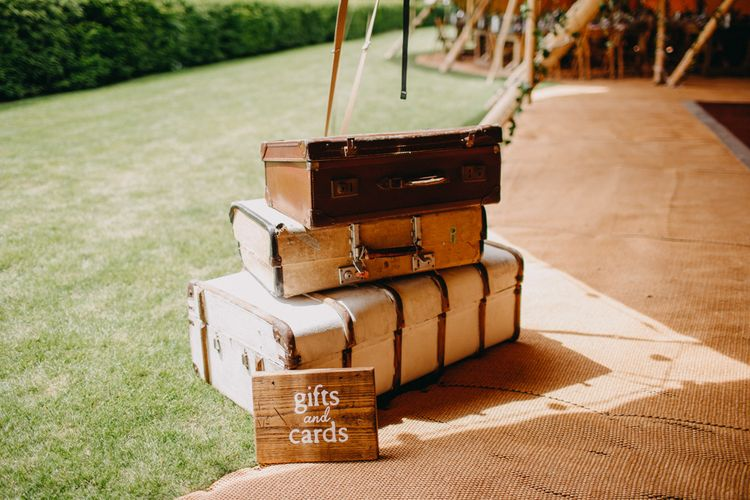 Vintage Suit Case Wedding Gifts & Cards Box | Wedding Decor | DIY Rustic Tipi Wedding at Riverhill Gardens, Sevenoaks | Frances Sales Photography