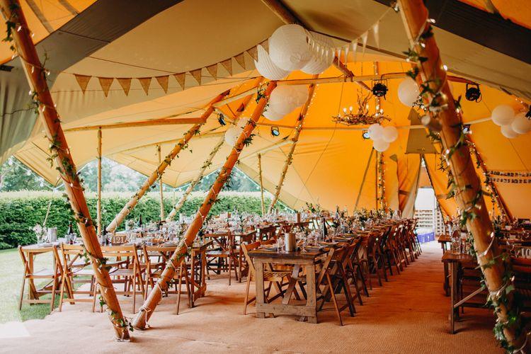 String Lights, Bunting & Lanterns Wedding Reception Decor | DIY Rustic Tipi Wedding at Riverhill Gardens, Sevenoaks | Frances Sales Photography