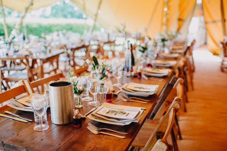 Table Wedding Reception Decor | DIY Rustic Tipi Wedding at Riverhill Gardens, Sevenoaks | Frances Sales Photography