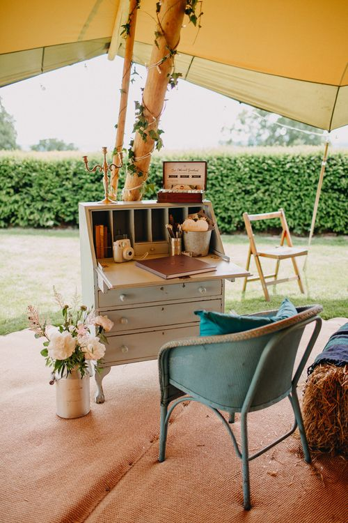 Vintage Writing Desk Guest Book Area | Wedding Decor | DIY Rustic Tipi Wedding at Riverhill Gardens, Sevenoaks | Frances Sales Photography