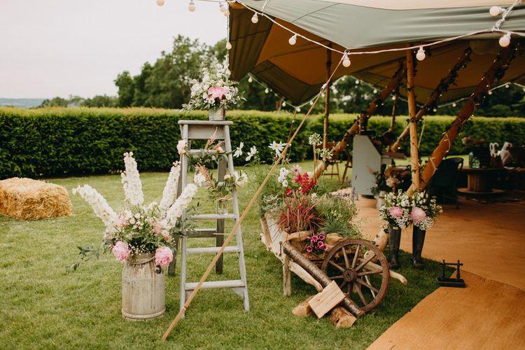 Vintage Step Ladder & Flower Filled Milk Churn Wedding Decor | DIY Rustic Tipi Wedding at Riverhill Gardens, Sevenoaks | Frances Sales Photography
