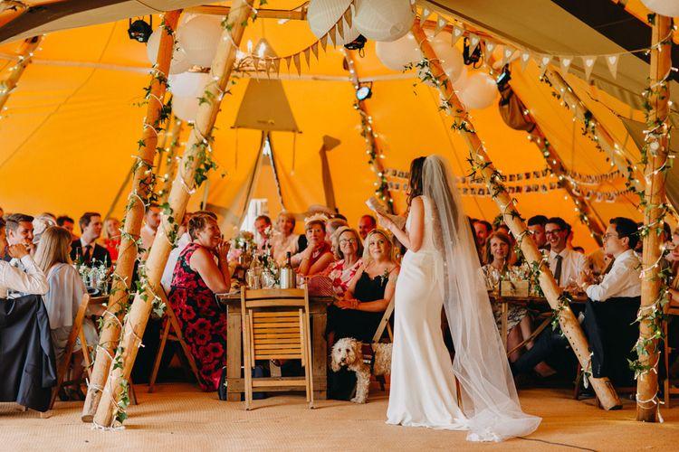 Wedding Reception Speeches | Bride in Halo & Wren Wedding Dress | DIY Rustic Tipi Wedding at Riverhill Gardens, Sevenoaks | Frances Sales Photography
