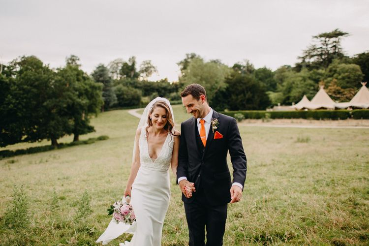 Bride in Halo & Wren Wedding Dress | Groom in Moss Bros. Suit | DIY Rustic Tipi Wedding at Riverhill Gardens, Sevenoaks | Frances Sales Photography