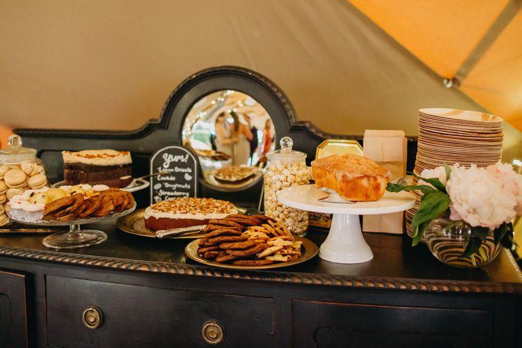Wedding Dessert Table on Vintage Dresser | DIY Rustic Tipi Wedding at Riverhill Gardens, Sevenoaks | Frances Sales Photography