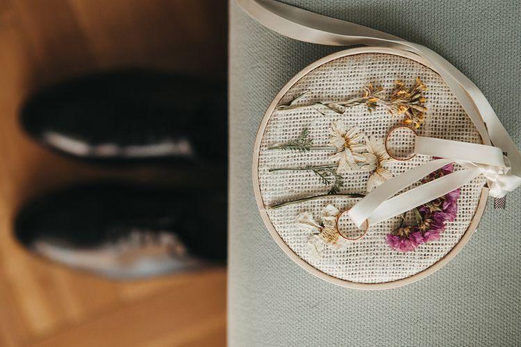 Wedding Rings on Embroidery Hoop