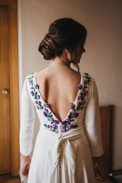 Bride in Nnavascues Embroidered Back Wedding Dress