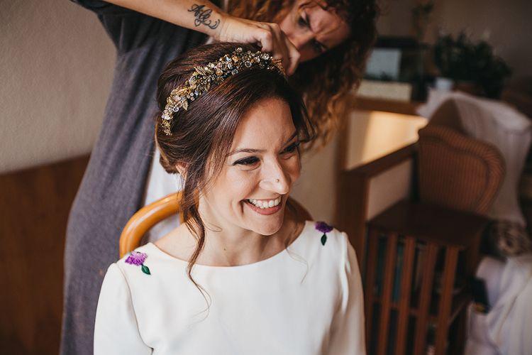 Wedding Morning Bridal Preparations with Natural Makeup and Gold Headband