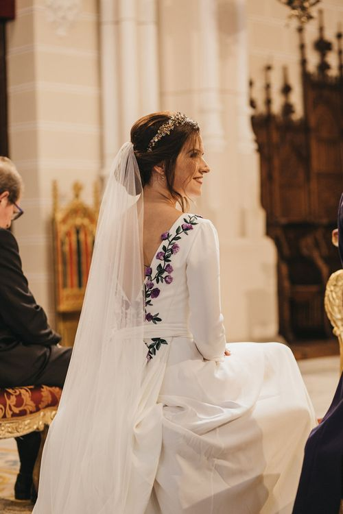 Church Wedding Ceremony with Bride in Nnavascues Embroidered Back Wedding Dress