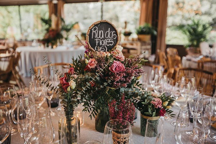 Wedding Reception Floral Centrepiece with Pink Flowers