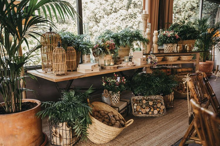 Weddings Decor with Wicker Baskets, Plants  and Candles
