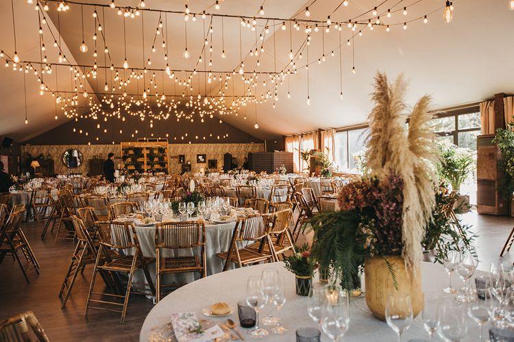 Wedding Reception Decor with Festoon Light Ceiling