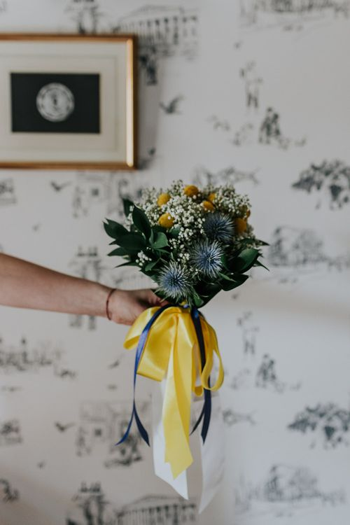 Yellow Flower Bridal Bouquet | Stylish Intimate London Elopement at Islington Town Hall & The Elk in the Woods | Joasis Photography