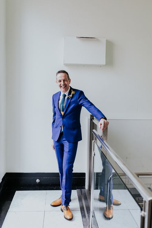 Groom in Blue Paul Smith Suit | Stylish Intimate London Elopement at Islington Town Hall & The Elk in the Woods | Joasis Photography