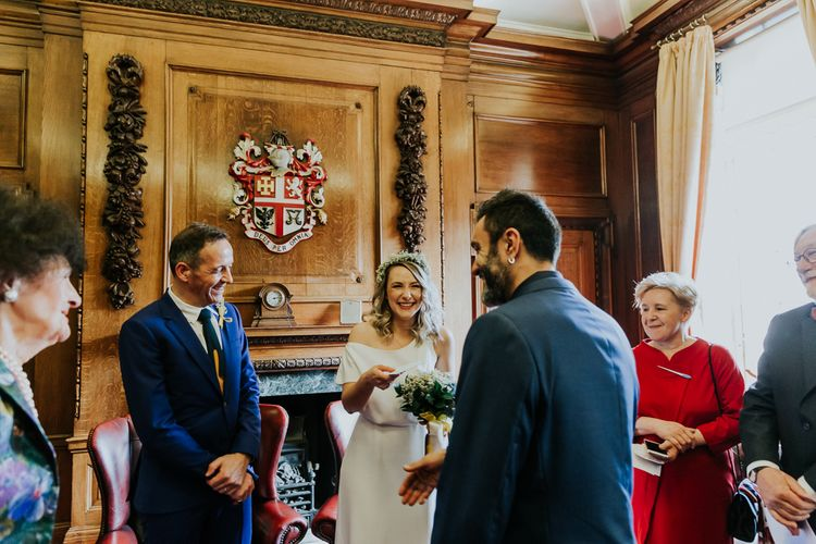 Wedding Ceremony | Bride in Agata Wojtkiewicz Atelier Bridal Gown | Groom in Blue Paul Smith Suit | Stylish Intimate London Elopement at Islington Town Hall & The Elk in the Woods | Joasis Photography
