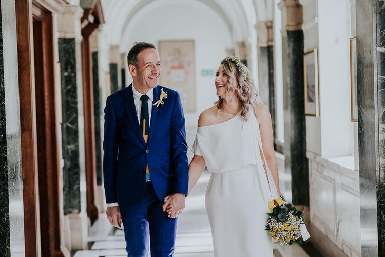 Bride in Agata Wojtkiewicz Atelier Bridal Gown | Groom in Blue Paul Smith Suit | Stylish Intimate London Elopement at Islington Town Hall & The Elk in the Woods | Joasis Photography