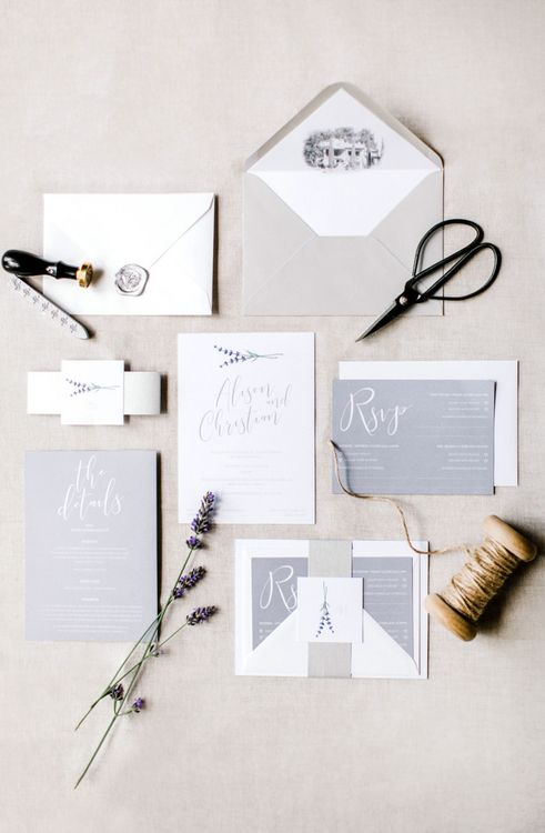 Grey and White Wedding Stationery Suite