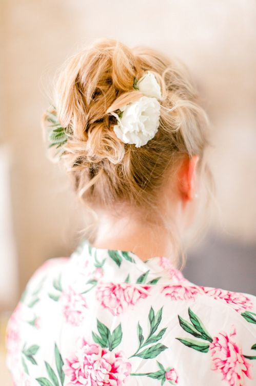 Bridesmaid Up Do with Fresh Flowers