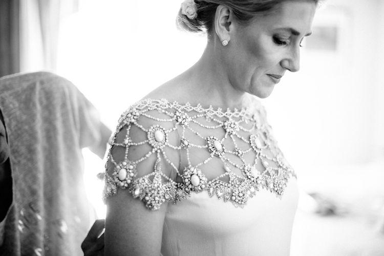 Marchesa Wedding Dress with Sheer Beaded Slash Neck with Cap Sleeves
