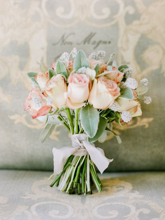 Vintage Pink Roses Tied with Ribbon