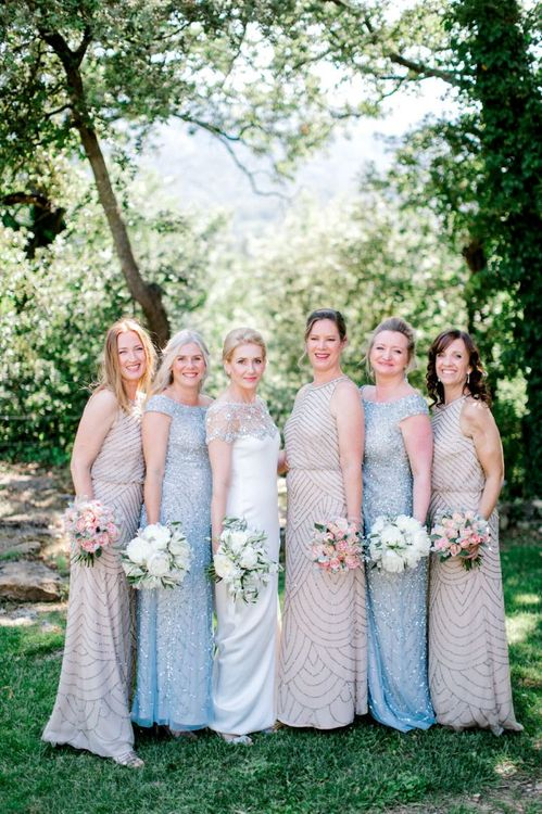Bridal Party in Pastel Beaded Adrianna Papell Bridesmaid Dresses