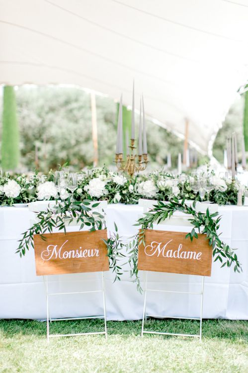 Monsieur & Madame Wooden Chair Back Signs for French Wedding