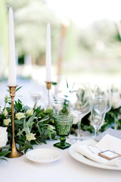 Greenery Table Runner with Green Goblet and Brass Candlesticks